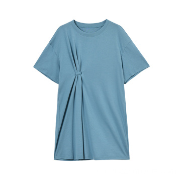 Damenmode Baumwolle Stretch Kurzarm T-Shirt Kleid