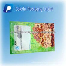 750g / abertura Inferior / Plástico / Zíper / Nozes / frutas Secas Saco / Bolsa Com Pendurar Buraco & Food & Window & Tear Embalagem do entalhe para nozes
