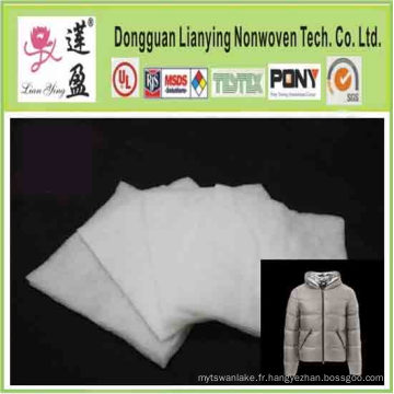 Isolation de rembourrage en fibre de polyester pour vêtement