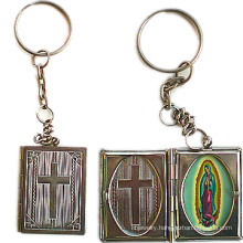Copper Bible Book Shaped Locket Keychain Religious Keychain
