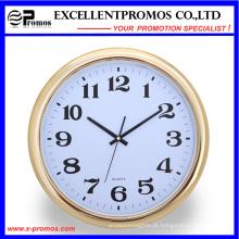 Gold Frame Logo impressão rodada relógio de parede de plástico (item23)