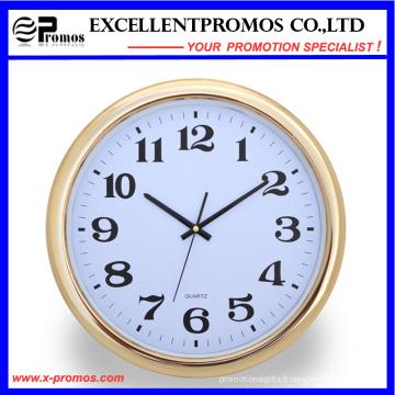 Gold Frame Logo Impression ronde en plastique Wall Clock (Item23)