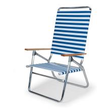 Fauteuil de plage pliant à rayures blanches et bleues