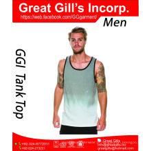 Top de ginástica esportiva masculina de alta qualidade / top de tanque com impressão a água por atacado
