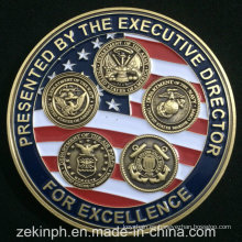 Cheap Custom Enamel USA Army Metal Challenge Monedas
