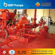 Pompe de lutte contre l'incendie centrifuge conduite par moteur diesel et moteur électrique