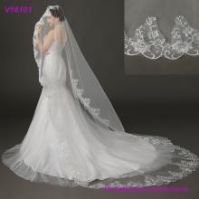 Brauthochzeits-Kopfschmuck, wulstiges Gesichtsschleier mit Spitze-heißer Verkauf wulstige Hochzeits-Zusätze Schleier