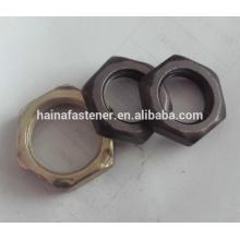 DIN 934 Acero al carbono Hex Thin Nut Negro Oixde, Placa de zinc
