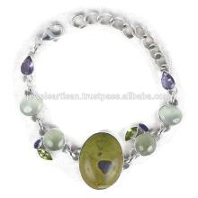 Latest Design Stichtite And Multi Gemstone 925 Sterling Silver Bracelet Jewelry
