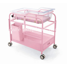 Lit d'enfant de luxe en acier-plastique pour hôpitaux avec roues