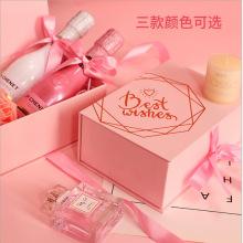 Embalagem de garrafas caixa de presente magnética rosa