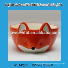 Venda por atacado cerâmica fox forma pet tigela