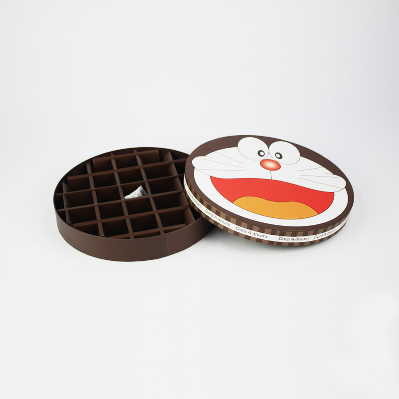 Cartoon Design Kids Love Round Chocolate Paper Box
