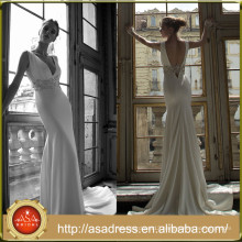 AR07 Alibaba Romantic Vintage V Neck Crystal Sash Beach Casual Simple Wedding Dress Patterns