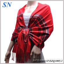 Scarlet Red Mulher Satin Paisley Shawl Wrap Scarf