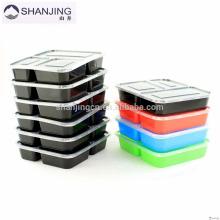 O armazenamento colorido do alimento FDA aprovou o recipiente plástico do compartimento da microonda 3 dos recipientes da lancheira do bento