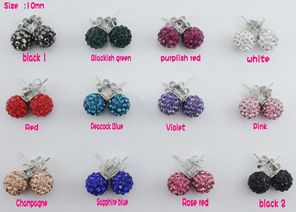 Colorful Shamballa Balls Stud Earring