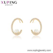 95127 xuping Chine en gros usine prix personnalisé style perle boucle d'oreille vogue or couvrant les femmes bijoux