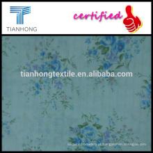 flor de primavera e folha imprimido no estilo de crepe de algodão tingido com tecido jacquard maquineta para vestido