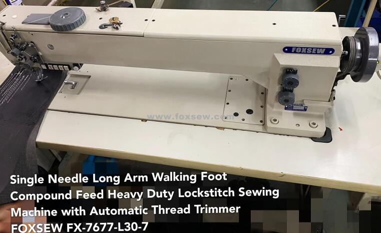 Long Arm Double Needle Compound Feed Lockstitch Machine With Automatic Thread Trimmer Fx 7678 L30 7 0