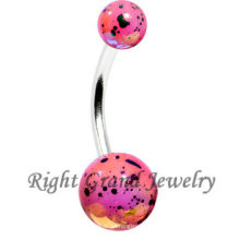 Pink Acrylic Splatter Pearl Recubierto Sexy Navel Belly Bar
