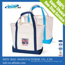 Promocional sacolas de lona natural de alta qualidade com bolsos