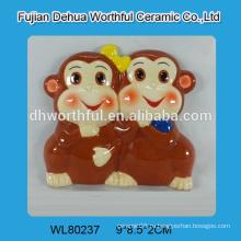 2016 самая продаваемая двойная обезьяна дизайн керамический холодильник магнит