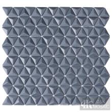 Azulejos de mosaico de vidrio gris 3D para salpicaduras de cocina