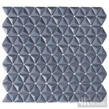 Ladrilhos de mosaico de vidro cinza 3D para backsplash de cozinha