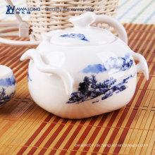 Guter Preis Mini keramische Teekanne gesetzt für Verkauf / blaue gedruckte traditionelle chinesische Teekanne und Schalen