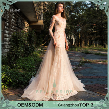 Hottest style illusion effection design appliques chapel train long evening dress