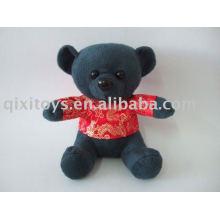 soft stuffed black mini bear with t-shirt