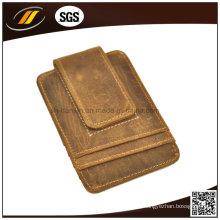Titular de la tarjeta del bolsillo de la moneda de cuero puro de la venta caliente