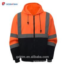 Venta al por mayor chaqueta de cremallera de alta visibilidad ANSI Clase 3 Sudadera de seguridad de dos tonos negro sudadera con capucha de seguridad Orange