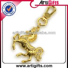Llavero plateado oro del caballo del metal del diamante artificial