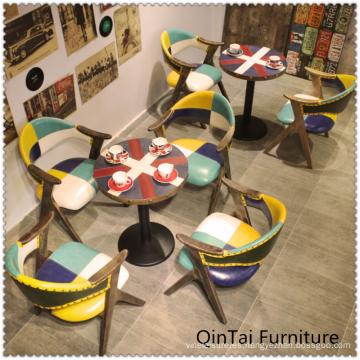 Restaurante occidental, mesa redonda de hierro, mesa de café.