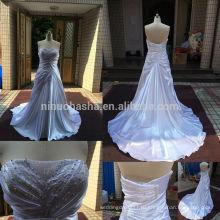 Стильный реальные фото 2014 без бретелек длинный хвост-line свадебное платье с бисером Плиссированные акцент уникальные атласные платья NB0532 для новобрачных
