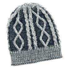 Bonnet tricoté en jacquard d'hiver à imprimé de câble unisexe (HW151)