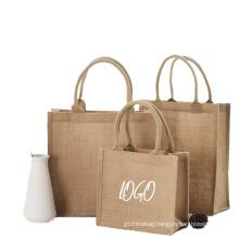 Eco friendly Big Capacity Linen Tote Bag Blank Reusable linen Shopping Bag with custom logo