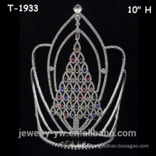 Large colored crystal christmas pageant tree crowns