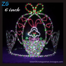 Cute Colored rhinestone rabbit tiara, wholesale customized crowns kids pageant crowns