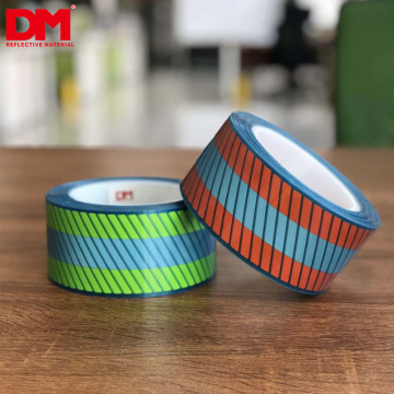 double colors fluorescent orange Segmented fire resistant heat transfer film for Flame Retardant Clothing FR Reflective Tape