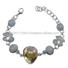 925 Sterling Silver & Blue Lace Agate Doublet Opal Rainbow Moonstone Gemstone Bracelet Jewelry