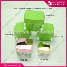 green all size empty acrylic cosmetic jar , square acrylic jar