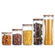 Wholesale Borosilicate Glass Storage Jar with Bamboo Lid