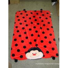 polka dots printed 3D emb coral fleece fabric baby product throw