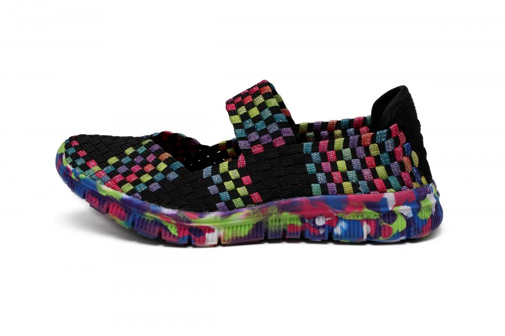 Multi-color Woven Elastic Upper Dance Shoes