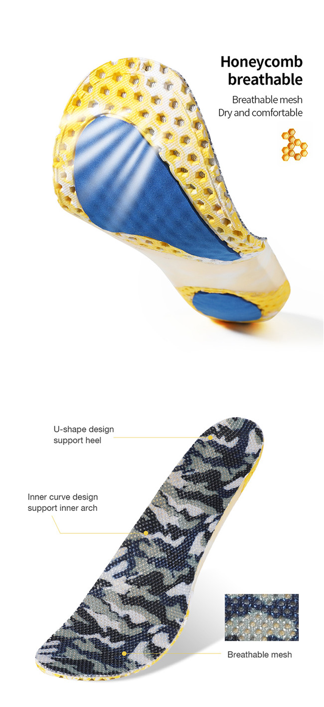 Honeycomb support insole air permeability and cloth cover