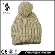 Beige color women classic winter acrylic knitted hat pom pom beanie