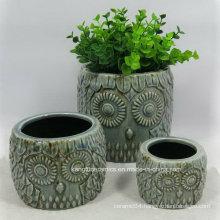Owl Design Embossed Home Decoration Ceramic Vase